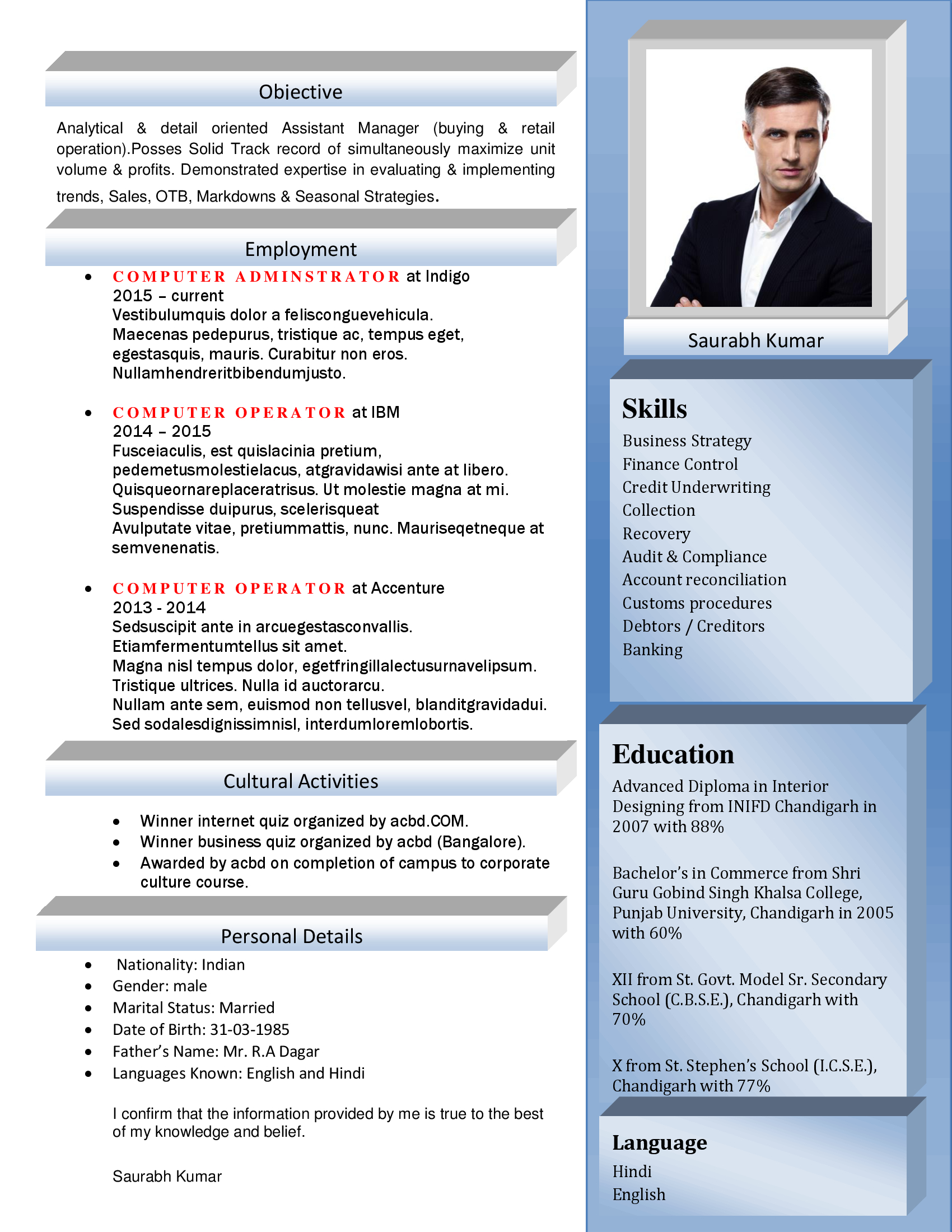 export import manager resume templates export import