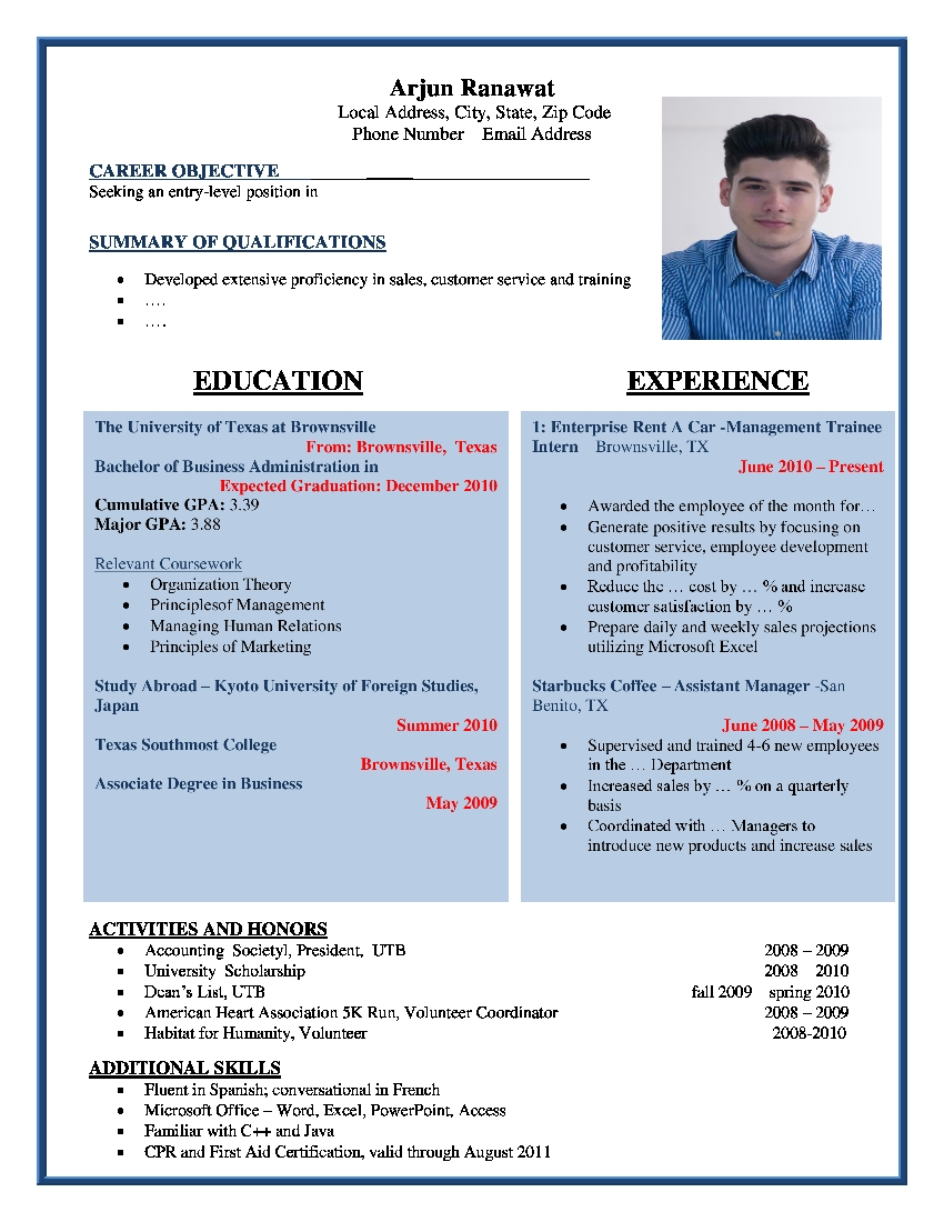 sample word resume template