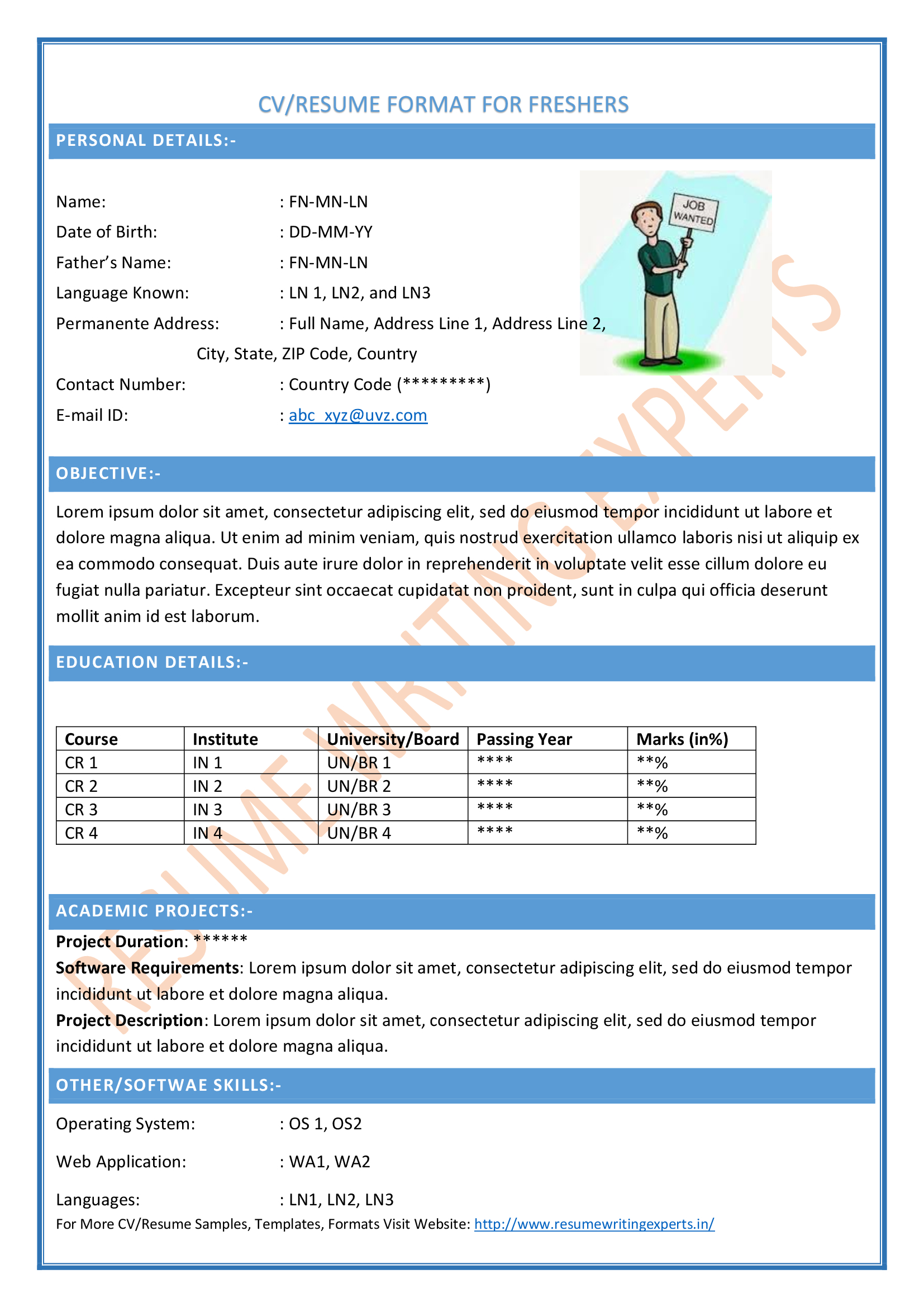 Sample Resume Word Format Resume Format and Resume Maker